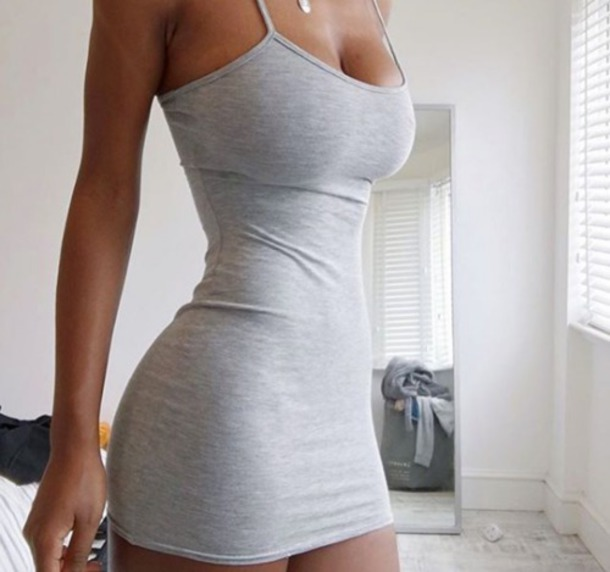 dress spaghetti strap tank dress grey sexy Busty milf straps beautiful tight cotton dress grey dress bodycon dress short grey bodycon mini dress tank top birthday outfits zendaya birthday outfit cute cute outfits cute dress tight skirt