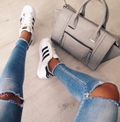 bag,grey sweater,jeans,celine,taupe dress,chic,luxe,style,trendy,fashion,chill,sweater,adidas wings,adidas,adidas originals,black and white,destroyed skinny jeans,ripped jeans,shoes,hole,blue,grey,skinny jeans,taupe,denim,ripped,jacket,black,cute,youtuber,tote bag,handbag,designer bag,high heels,love,pants,brown,grey brown,beautiful