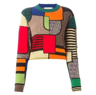 sweater 70' geometric patchwork moschino colorful