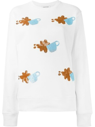 sweatshirt women embellished white cotton sweater