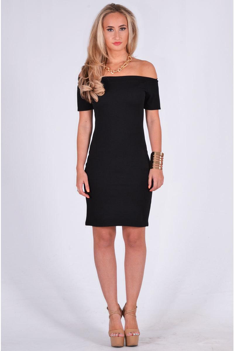 Black Little Black Dress - Black Off the Shoulder Textured | UsTrendy