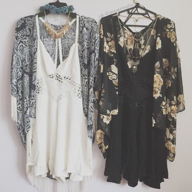 Jumpsuit black jumpsuit kimono dress tumblr outfit romper cardigan pretty dress! - Wheretoget