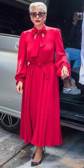 dress,lady gaga,midi dress,red,celebrity