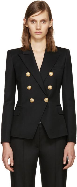 blazer classic black wool jacket