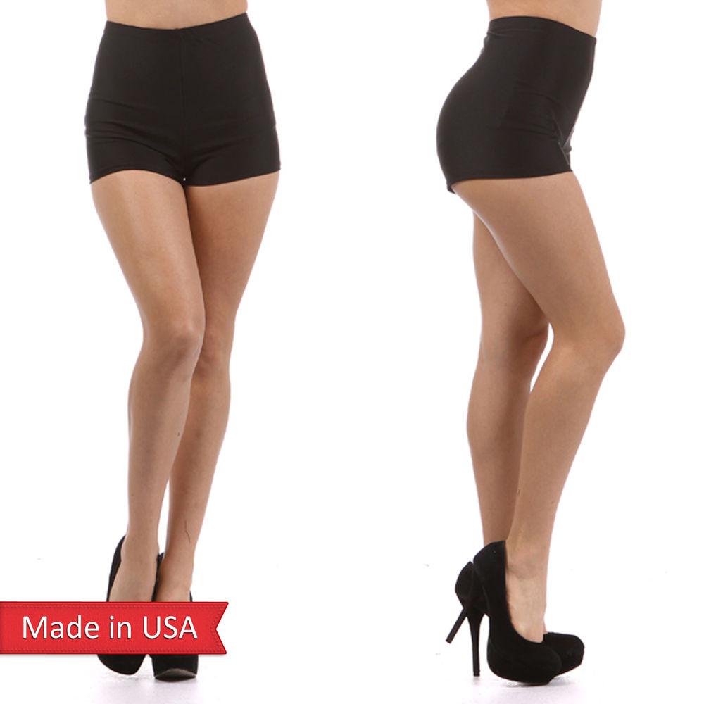Women Sexy Shiny Nylon Span Fitted High Waist Casual Shorts Hot Pants Bottom USA