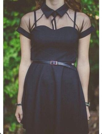 dress black sheer grunge