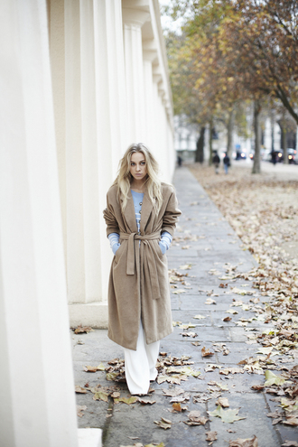 5 inch and up blogger flare winter coat long coat camel coat wide-leg pants sweater coat pants shoes