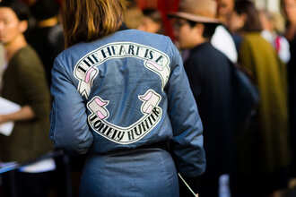 dress fashion week street style fashion week 2016 fashion week paris fashion week 2016 long sleeves long sleeve dress blue dress streetstyle quote on it bomber jacket