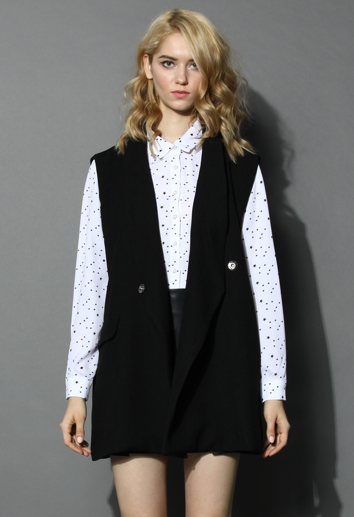 Street Style Oversize Sleeveless Blazer in Black - Retro, Indie and Unique Fashion