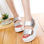 shoes,platform sandals,silver,white,sandals,platform shoes