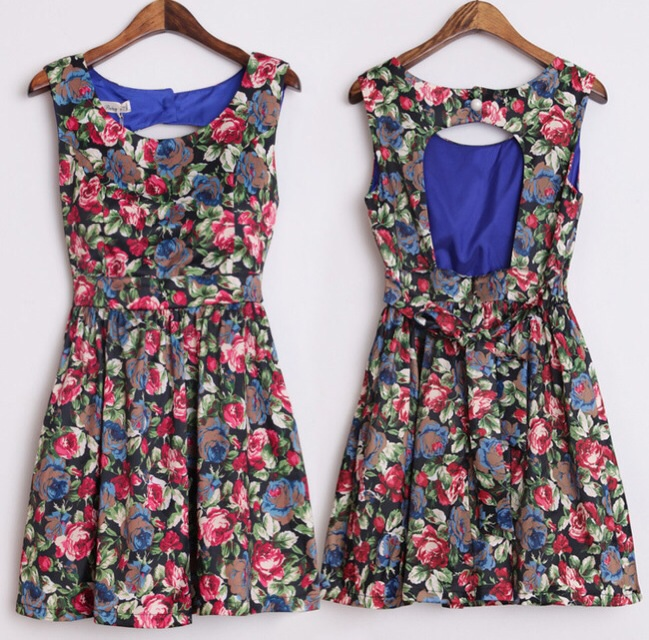 Malia floral backless skater dress in blue