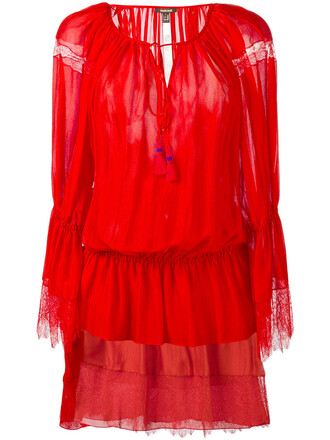 dress women lace silk red