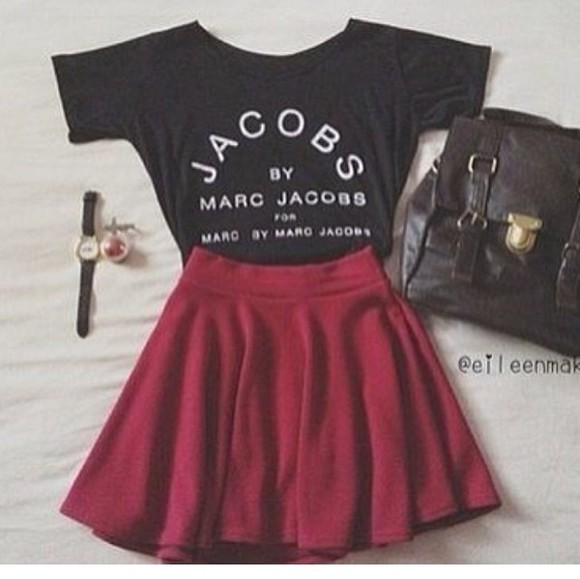 skirt bag red red skirt skater skirt red skater skirt top t-shirt marc jacobs black white black t-shirt watch leather bag marc by marc jacobs