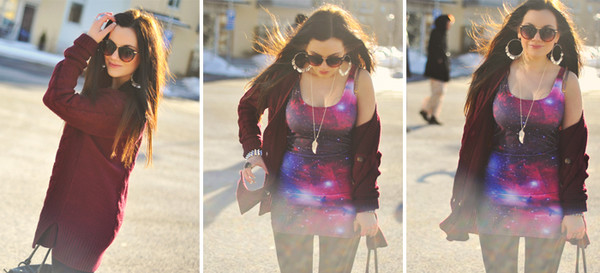 cardigan galaxy print feathers necklace kofta wine red burgundy sweater jewels