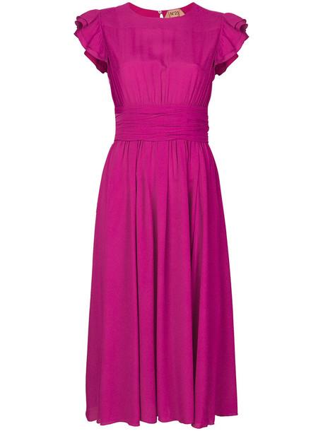 No21 dress women silk purple pink