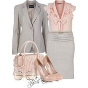 skirt,grey,pink,office outfits,jeacket,blouse,heels,jacket