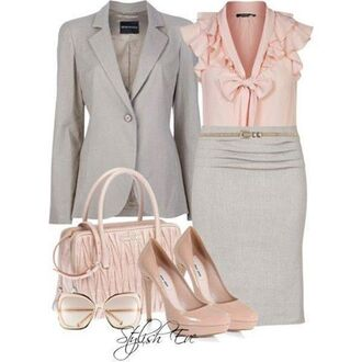skirt grey pink office outfits jeacket blouse heels jacket
