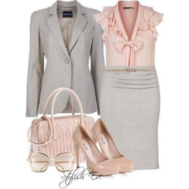 335ccdfc1b6c skirt grey pink office outfits jeacket blouse heels jacket