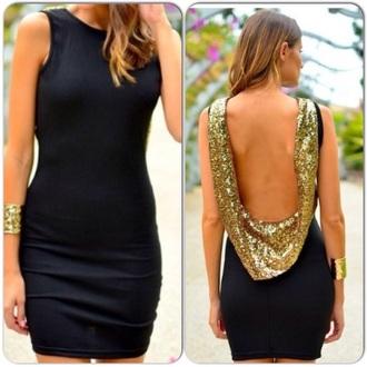 dress short black dress low back