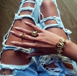 jewels gold ring gold bracelet jeans