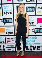 jumpsuit,sandals,gwyneth paltrow,shoes