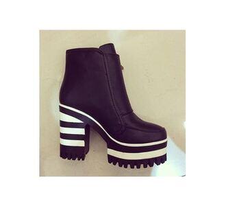 shoes black white boots platform shoes ankleboots platform boots