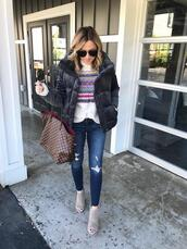 twopeasinablog,blogger,sweater,jeans,sunglasses,shoes,jewels,louis vuitton bag,peep toe boots,fall outfits,winter outfits