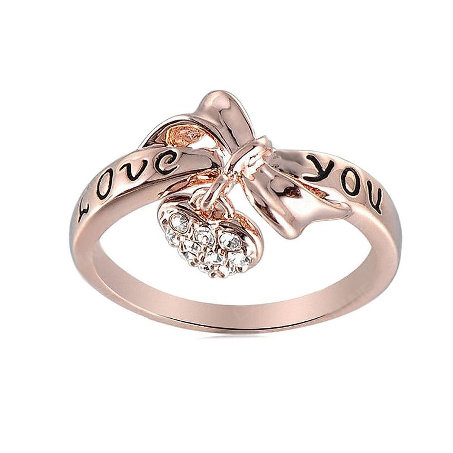Amazon.com: swarovski element rose gold love you heart charm ring: jewelry