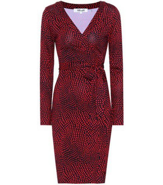 Diane Von Furstenberg dress wrap dress silk red