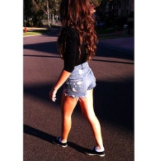 shorts outfit cute love denim ripped fray high waisted high waisted denim shorts