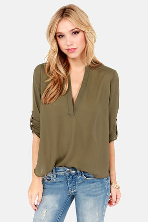 Cute Olive Green Top - V Neck Top - Olive Top - $37.00