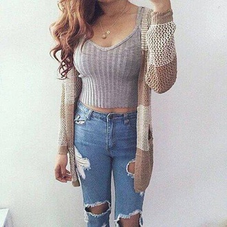 top grey sweater crochet top lovely pepa