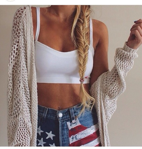 shorts american flag shorts lovely fashion beautiful beauty girly top white crop tops cardigan knitted cardigan Knitted pullover pretty girl