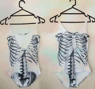 skull white t-shirt t-shirt one piece white swimwear tank top black and white swimwear vintage jumpsuit