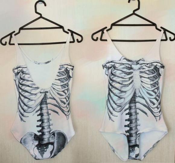 one piece swimwear vintage jumpsuit skull white t-shirt white swimwear tank top black and white
