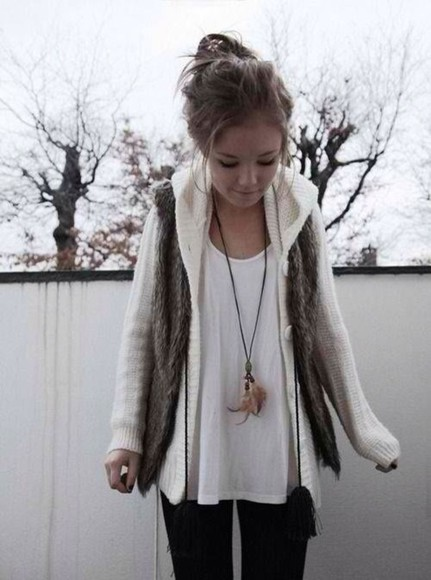 sweater white sweater fur vest