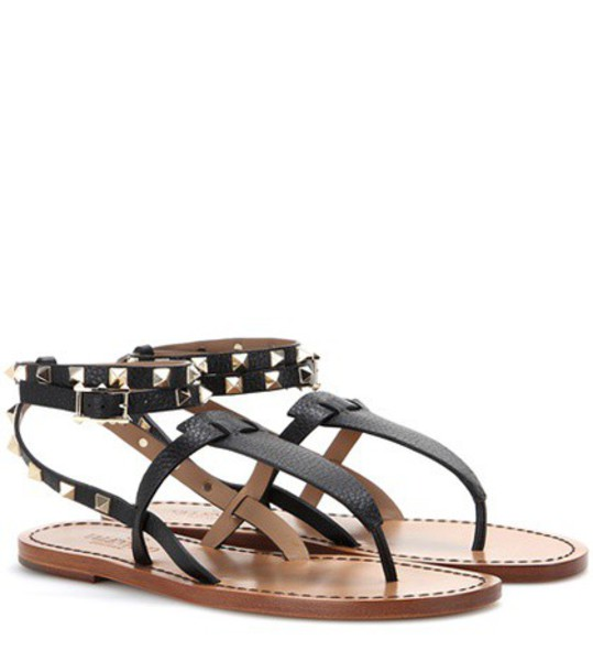 Valentino Rockstud Double Leather Sandals in black