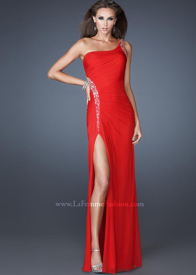 Femme 18224 - Red One Shoulder Dress, Prom Dresses - RissyRoos.com
