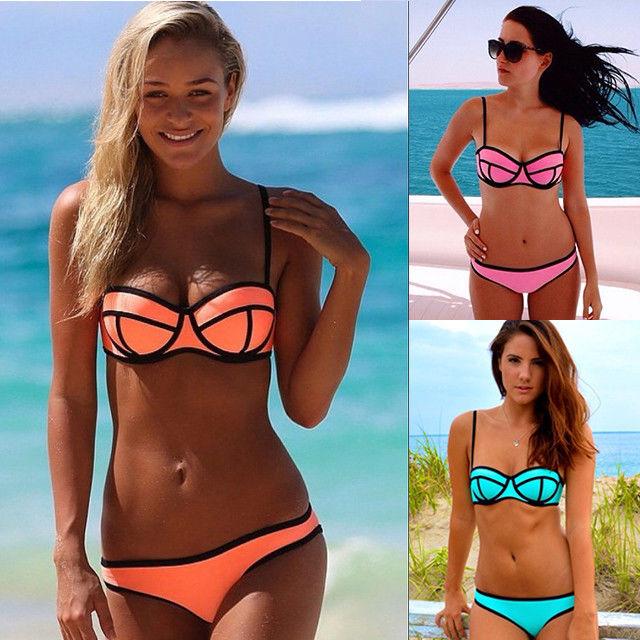 Sexy women's bikini set bandeau triangle push