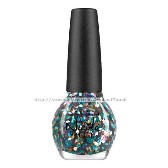 Nicole by opi nail polish lacquer ni 437 be awesome blue pink silver confetti