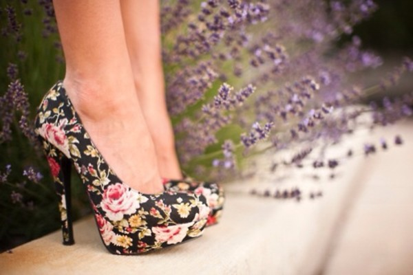 shoes high heels floral high heels floreal