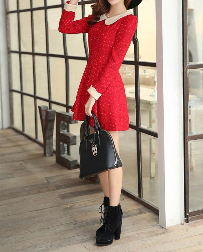Sweet peter pan collar polka dot waisted cuff hemming long sleeves blended dress (red,l)