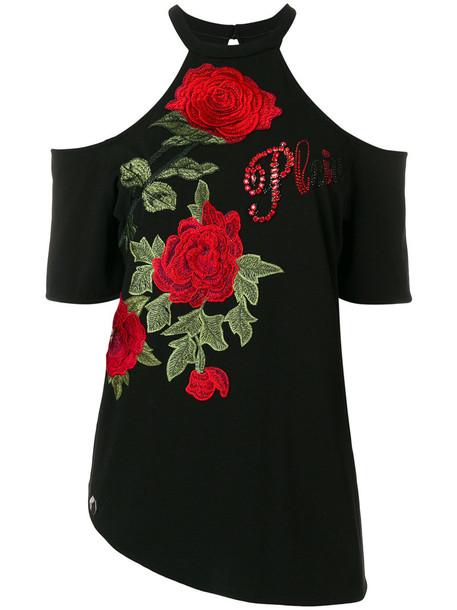 PHILIPP PLEIN t-shirt shirt t-shirt rose women spandex embellished cold cotton black top
