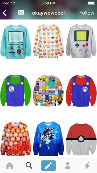 sweater sweatshirt games fashion mario emoji print pokemon cats