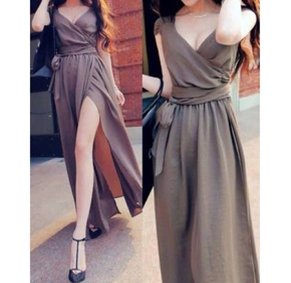 slitted maxi skirt slit skirt dress long dress maxi dress brown platform dark dress v neck dress cute dress style fashion high heels