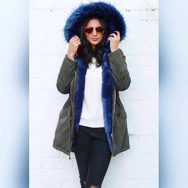 Tanya Full Faux Fur Trim Parka in Khaki Green with Blue