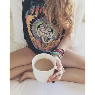 graphic tee black top pajamas jewels bracelets