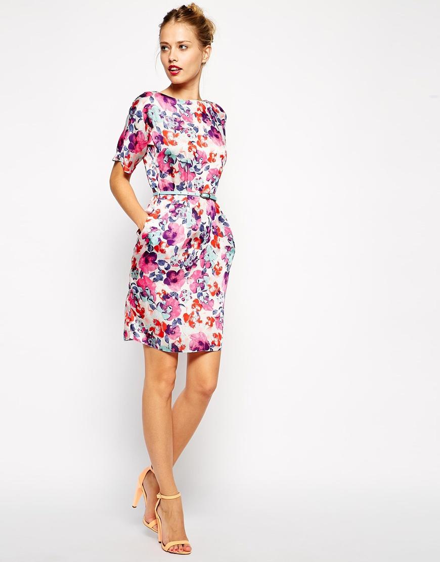 4c7e430cfbd ASOS Mini Wiggle Dress in Bright Floral with Belt at asos.com