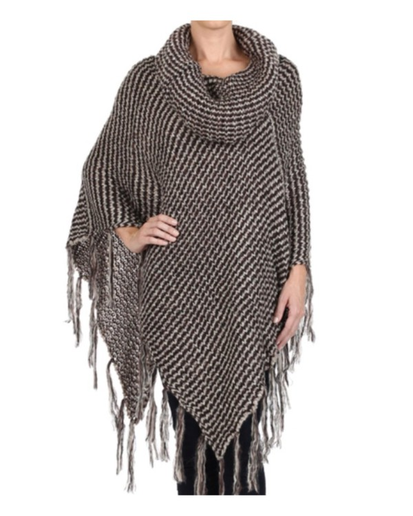 Knitting Pattern Cowl Neck Poncho : In Style Cowl Neck Fringe Accent Knit Poncho~Sweater~Jacket