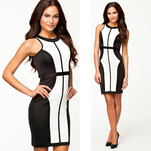 Free Shipping 2014 Lady New Fashion Black and White Patchwork Mini Dress Celebrity Sleeveless Summer OL Casual Dress 9100   Amazing Shoes UK
